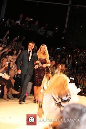 Tony Dovolani and lulu Johnson - Mercedes-Benz New York Fashion Week Spring 2015 - Betsey Johnson - Backstage - New...