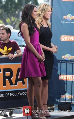 Tracey Edmonds and Charissa Thompson - Celebrities appear on 'Extra' at Universal City Walk - Los Angeles, California, United States...