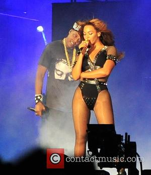 Jay-Z and Beyonce - Celebrity super couple, pop star Beyonce and rapper Jay-Z perform in Paris as part of their...
