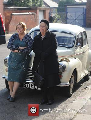 Stephanie Cole and Linda Baron - British actor Tim Healey seen on the set of the sequel to the BBC...