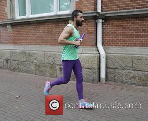 American film actor Shia Labeouf was spotted running the Meta-Marathon in Amsterdam, Netherlands - Thursday 25th September 2014