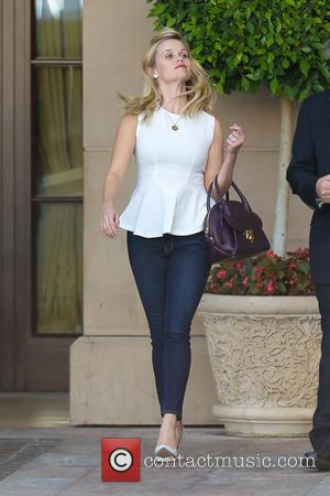 American film actress Reese Witherspoon was photographed after she had her lunch at the Montage Hotel wearing a white, sleeveless...