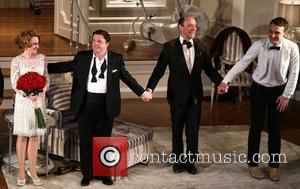 Megan Mullally, Nathan Lane, F. Murray Abraham and Micah Stock - It s Only A Play Opening Night Curtain Call...