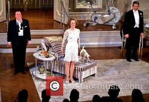 Nathan Lane, Megan Mullally and Matthew Broderick - It s Only A Play Opening Night Curtain Call at Schoenfeld Theatre,...