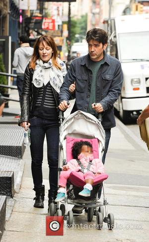 Ron Livingston, Rosemarie DeWitt and Gracie Livingston - 'Office Space' actor Ron Livingston spotted out in Soho with his family...