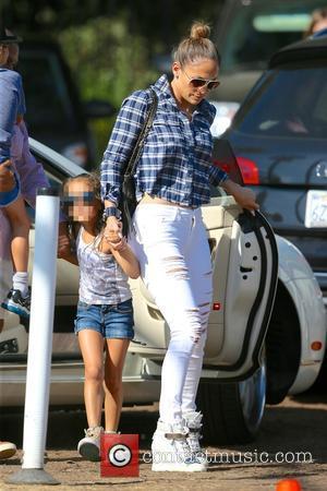 Jennifer Lopez and Emme Muniz - Latin American pop superstar Jennifer Lopez visited Mr. Bones Pumpkin Patch with her two...