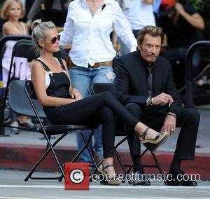 Johnny Hallyday and Laeticia - Singer Jean-Philippe Smet better known as his stage name Johnny Hallyday seen filming his latest...