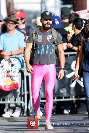 Hollywood star Shia LaBeouf was photographed as he arrived for Jimmy Kimmel Live! wearing some striking pink pants in Los...