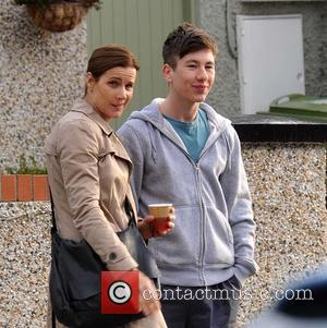 Rachel Griffiths and Barry Keoghan - Rachel Griffiths filming scenes for her new movie 'Mammal' - Dublin, Ireland - Wednesday...
