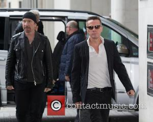 The Edge, Larry Mullen, Jr. and U2 - Celebrities at BBC Radio 1 at BBC Portland Place - London, United...