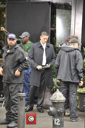 Jim Caviezel on the set of Person of Interest