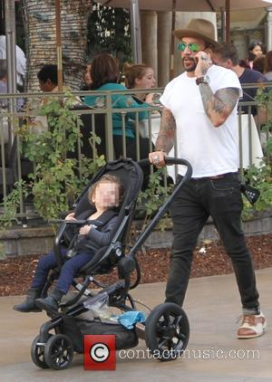 A.J. McLean takes his daughter Ava shopping at The Grove in Hollywood. The musician is seen chatting on his mobile...