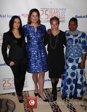 Estee Lauder, (L-R) Journalist, Honoree Brankica Stankovic, Executive Vice President of Global Communications, Vice-Chair, IWMF Board of Directors, and Honoree Alexandra Trower, journalist, Honoree Arwa Darmon, and Editor-in-Chief of Le Souverain and Solange