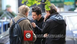 Dominic Cooper and Alan Bennett - Dominic Copper chats to the playwright Alan Bennett in Primrose Hill - London, United...