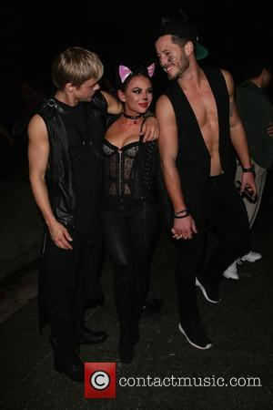 Derek Hough, Janel Parrish and Val Chemkovskiy