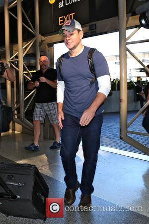 Hollywood super star Matt Damon was photographed as he arrived at Los Angeles International airport wearing jeans and a T-shirt...
