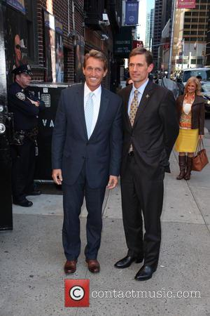 Sen. Jeff Flake, of arizona, Sen. Martin Heinrich and of New Mexico - Celebrities outside the Ed Sullivan Theater as...