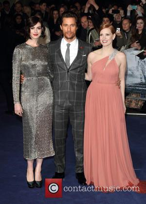 Anne Hathaway, Matthew McConaughey and Jessica Chastain - UK Premiere of 'Interstellar' held at the Odeon Cinema Leicester Square -...