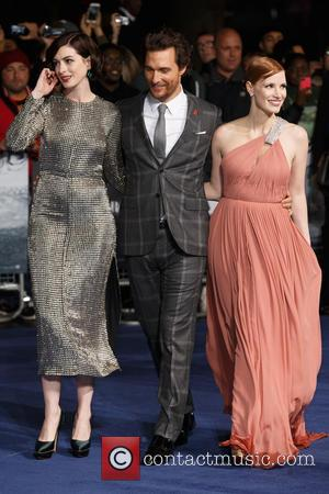 Anne Hathaway, Jessica Chastain and Matthew McConaughey - Photographs of the Hollywood stars as they attended the UK Premiere of...