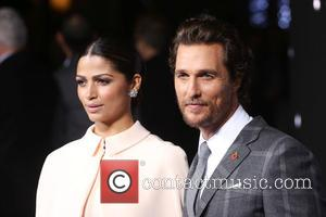 Camila Alves and Matthew McConaughey - Photographs of the Hollywood stars as they attended the UK Premiere of Sci-Fi movie...