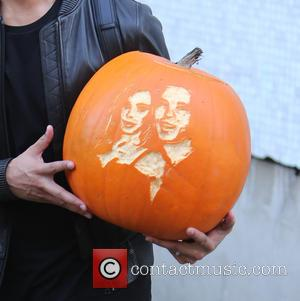 Marvin Humes - Marvin Humes carries a carved picture pumpkin of himself and Rochelle outside the ITV Studios - London,...