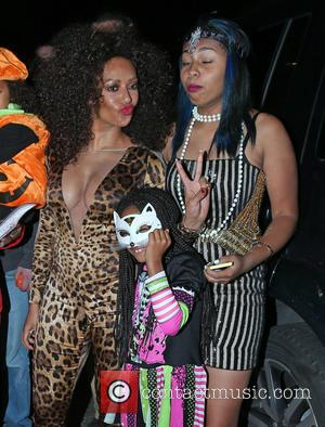 Melanie Brown, Phoenix Gulzar and Angel Murphy Brown - Jonathan Ross' Halloween party - Arrivals - London, United Kingdom -...