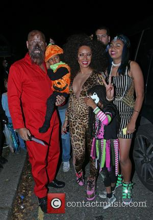 Melanie Brown, Stephen Belafonte, Madison Brown Belafonte, Phoenix Gulzar and Angel Murphy Brown - Jonathan Ross' Halloween party - Arrivals...