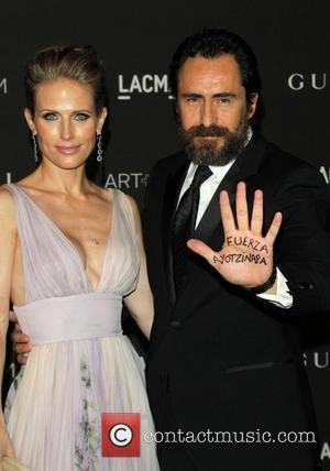 Demian Bichir and Stefanie Sherk - A variety of celebrities were photographed as they arrived at the 2014 LACMA Art+Film...