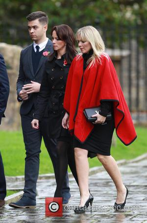 Andrea McLean and Kate Thornton - Lynda Bellingham funeral in Crewkerne - Arrivals at St Bartholomew's Church - Crewkerne, United...