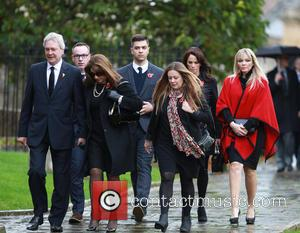 Jane McDonald, Andrea McLean and Kate Thornton - Lynda Bellingham funeral in Crewkerne - Arrivals at St Bartholomew's Church -...