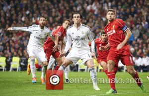 Gareth Bale and Steven Gerrard - UEFA Champions League match between Real Madrid and Liverpool. Real Madrid won the match...