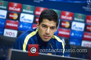LUIS SUAREZ - Photographs from the press conference ahead of the Champions League Football group stage game Ajax vs Barcelona...