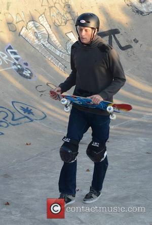 Tony Hawk - Pro skateboarder Tony Hawk puts on an exhibition of his skills at Bushy Park Skateboard Park, Dublin,...