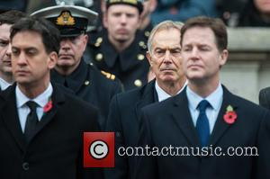 Tony Blair and Ed Miliband - Remembrance Sunday service held at The Cenotaph, Whitehall - London, United Kingdom - Sunday...