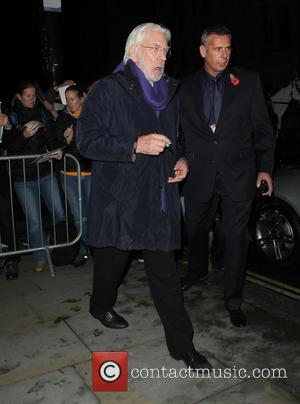 Donald Sutherland - Celebrities leaving the Corinthia Hotel London to attend The Hunger Games premiere - London, United Kingdom -...