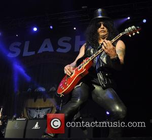 Rock n Roll hall of famer Slash was photographed as he performed live on stage with Myles Kennedy and The...
