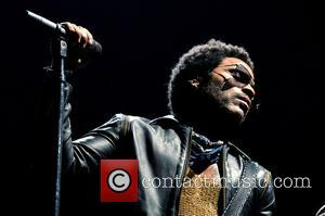 Shots of American rock star Lenny Kravitz performing live in concert at the Mediolanum Forum in Milan, Italy - Monday...