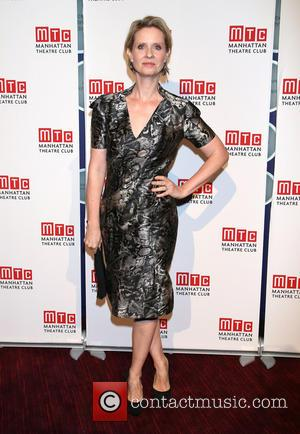 Cynthia Nixon wearing Zac Posen - Photographs of a variety of stars as they arrived at the Manhattan Theatre Club...