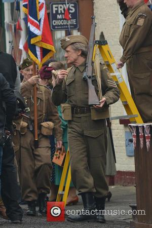 Bill Nighy - Bridlington, Yorkshire transforms into Walmington-on-Sea for the filming of the feature film 'Dad's Army,' slated for release...