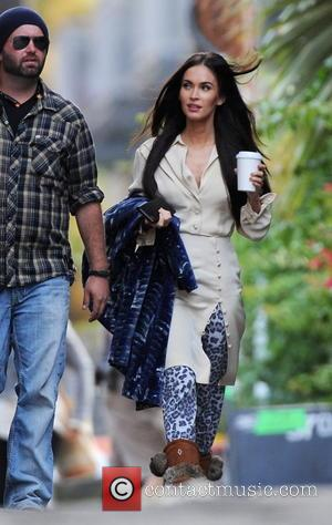 Megan Fox - Actress Megan Fox arriving on the set of