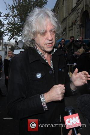 Sir Bob Geldof - Celebrities arrive at the Sarm studios to record the Band Aid 30 single 'Do they Know...