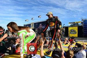 Danica Patrick, driver of the #10 Florida Lottery/GoDaddy Chevrolet, Tony Stewart and driver of the #14 Bass Pro Shops /...