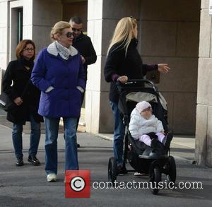 Michelle Hunziker, Ineke Hunziker and Sole Trussardi - Pregnant Swiss-Italian TV personality Michelle Hunziker was spotted out for a walk...