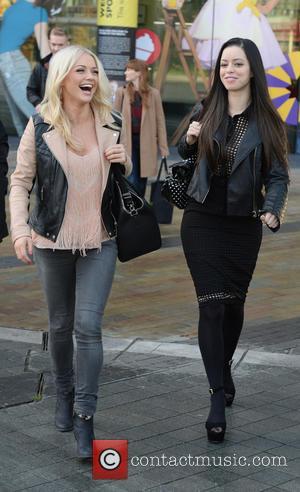 Hannah Spearritt and Tina Barrett - Members of S Club 7 leave the BBC Breakfast studio at MediaCityUK - Manchester,...