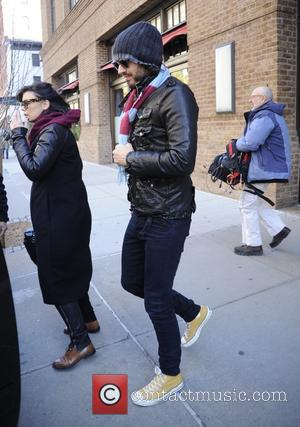Russell Brand - Russell Brand leaves The Greenwich Hotel in Manhattan wearing a claret and blue scarf made in the...