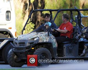 Josh Duhamel and Axl - American actor Josh Duhamel got a surprise visit by his son Axl on the set...