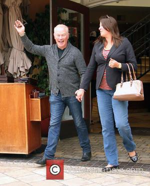 Neal McDonough and Ruve McDonough - Neal McDonough holds hands with his wife after taking her for dinner at The...