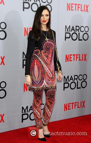 Georgina Chapman - Shots of stars as they arrived for the New York premiere of 'Marco Polo' which was held...