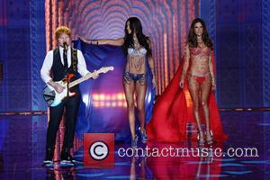 Adriana Lima, Alessandra Ambrosio and Ed Sheeran