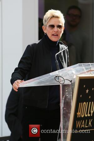 Ellen DeGeneres - American pop star Pharrell Williams was presented with a Hollywood walk of fame star at Hollywood Blvd...